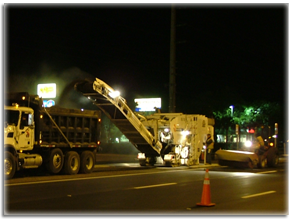 Renewing streets with Houston Asphait's green milling services - the top layer of asphalt is removed and recycled.